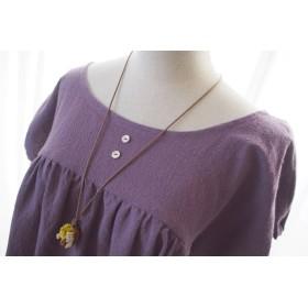 パフ袖ワンピース コットンリネンの薄紫 フリーサイズ