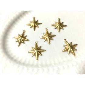 星のチャーム(ブラス/ゴールド) 2個