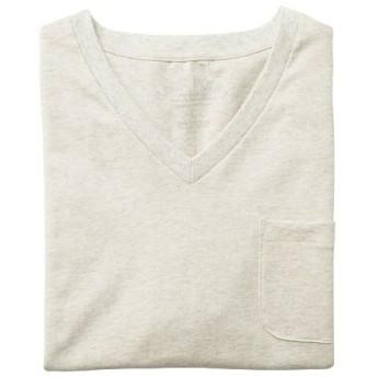 【レディース】 オーガニックコットン100%素材のVネックTシャツ(半袖) ■カラー:オートミール ■サイズ:S,M,L,LL,3L,5L,7L