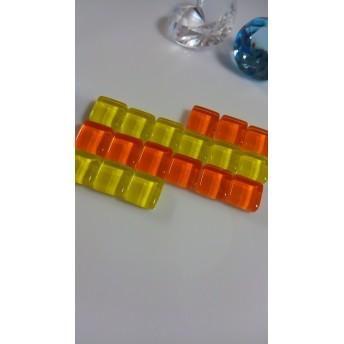 ガラスタイルパーツ オレンジ系 1cm×1cm