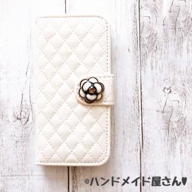 バラ付き キルティング 手帳型 iPhoneケース【ホワイト】