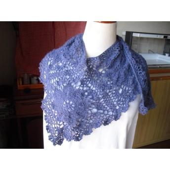 L字型大きいモチーフ編みストール*青紫色