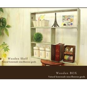 【送料無料】アンティーク風 シェルフ 木製棚 モスグリーン