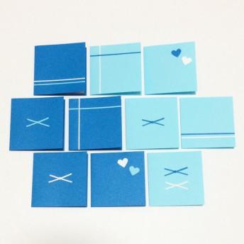 ブルー系台紙(ハート)ミニメッセージカード 10枚