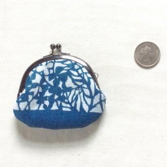 藍染 豆がま口「水の底」