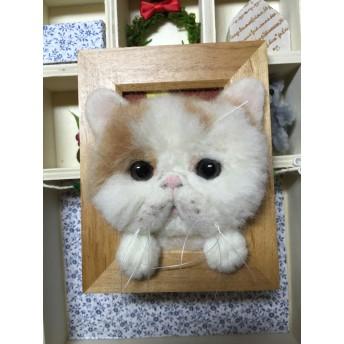 羊毛フェルト フォトフレーム ブサカワ猫
