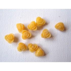 【2ケ】【天然素材】イエロージェイド(薔薇/直径約10mm)/2ヶ