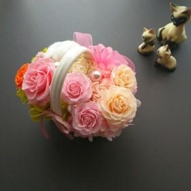 プリザーブドフラワー お花もりもり♪陶器のバスケット ブリザードフラワー プリザ
