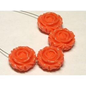 珊瑚(練り) 薔薇型パーツ両面 橙色 約17×9mm 【4個セット販売】6001283