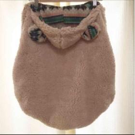 ベージュ☆ノルディック柄 完成品! 抱っこ紐、ベビーカー防寒ケープ かわいいくま耳