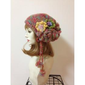 1046 春のつぼみの虹色ニット帽