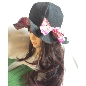 【半額セール】リバーシブルチューリップハットrc13ブラックデニム×ピンクお花★帽子
