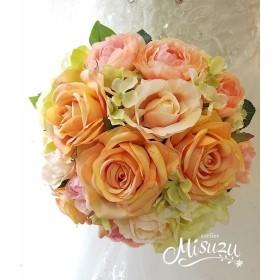 優しいアプリコット~オレンジ薔薇 ラウンドブーケ・海外挙式・リゾ婚