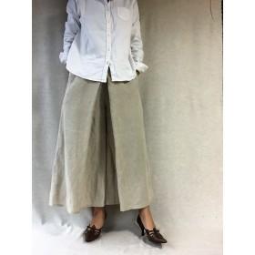 麻色リネンのスカートパンツ