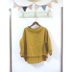 辛子色 リネン100% ロールカラー襟とバルーンスリーブブラウス ML