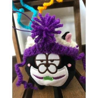 マスコットぬいさんにもぴったり!白紫にゃんこ帽子ミニサイズ