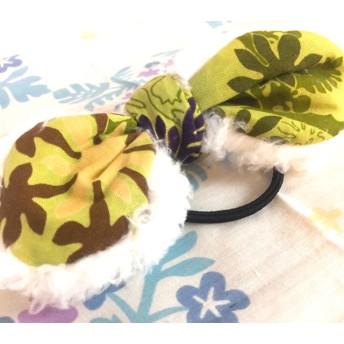 秋冬 ハワイアン髪飾り フラダンス モコモコヘアゴム (グリーン)