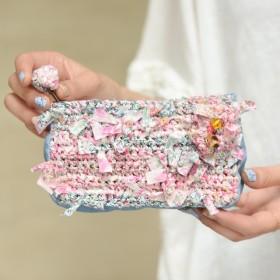 わたしだけのリバティ咲き編みポーチ×デニム~ピンク