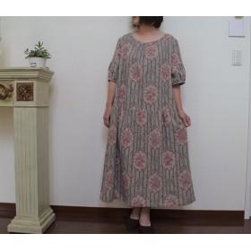 YUWAリネン花柄ギャザーワンピース