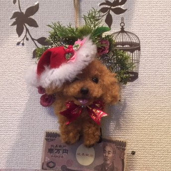 羊毛フェルトトイプードルのクリスマスリース