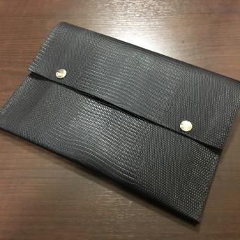 本革 リザード型押し iPad miniケース クラッチバッグ