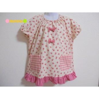 120cm♪ピンク系 花柄 リボン、裾フリル 半袖スモック