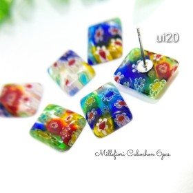 6個☆手作りミルフィオリ長方形ガラスカボションMIX約15×12㎜【ui20】