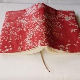 リネン小花のブックカバー(文庫本サイズ)