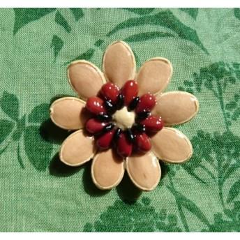 ★種の花★ カボチャと小豆の種で作ったブローチ