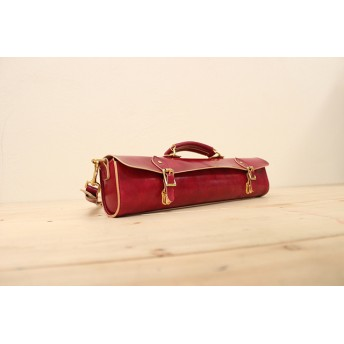 JAPAN LANSUI DESIGN 名入れ対応 ヌメ革手作り手縫い フルートのケースバッグ