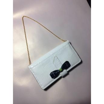財布&iphone&カードケース ホワイト&グリーンリボン本革手縫い