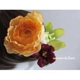 [送料無料]ラナンキュラス・シンビジウム・SPバラの髪飾り