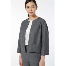 HUMAN WOMAN / ≪Japan couture≫ウールカルゼニットノーカラージャケット