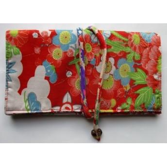 2968 花柄の着物で作った和風財布.ポーチ