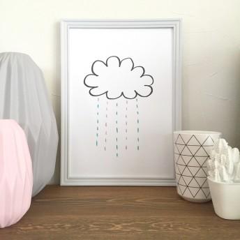 おそらの雲と雨の北欧インテリアポスター