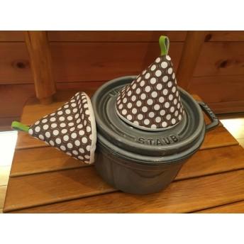 2個セット★三角鍋つかみ★staub ルクルーゼ等にいかがでしょうか? ミトン 鍋つかみ 北欧 裏白