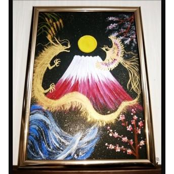 完売 風水開運絵画「龍神と鳳凰~四季~」陰陽 子宝 金運 出世 夫婦 繁栄 縁起物