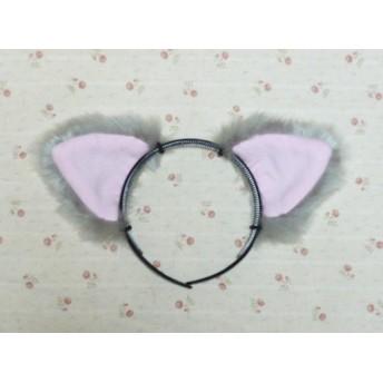 受注製作グレー猫耳としっぽのセット