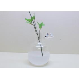 受注制作文鳥 ペアの小枝花瓶(白)