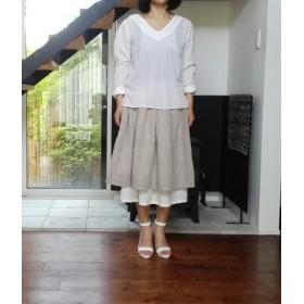 リネンのふんわりスカートと刺繍地のペチスカートセット♪真麻色&オフホワイト☆