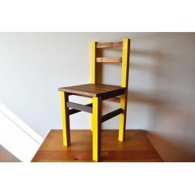 2トーンカラーの椅子 チェアー color: yellow×walnut