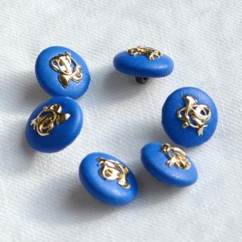バブリー ゴールド&ブルー ボタン 16mm【6個セット】