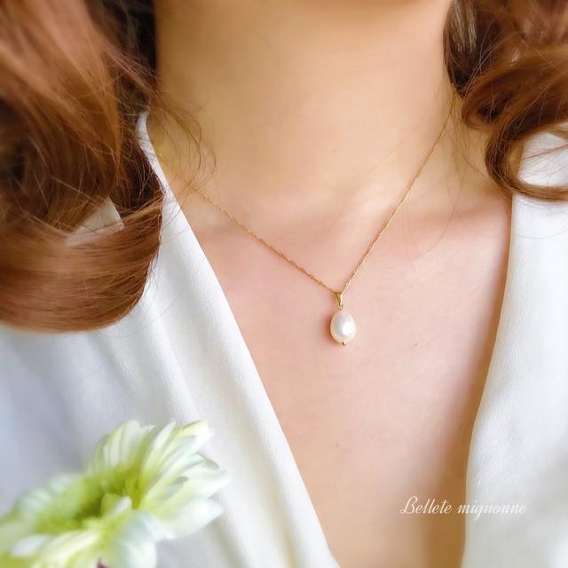 【再販】Teodora  卵みたいな琉球真珠の一粒ネックレス