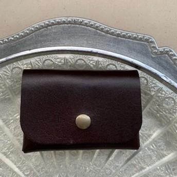 革のはしっこで作りました。カードケースコインケースこげ茶系10