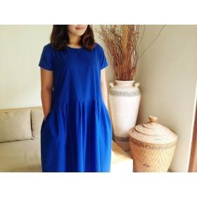 コットン素材半袖ロングプリ―ツワンピース♪ロイヤルブルー