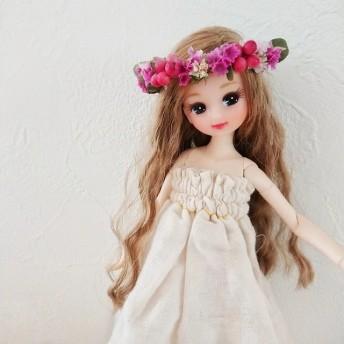 vivid pinkの花冠 リカちゃん 花冠 ruruko プチブライス 1/6 ドールハウス ミニチュア 小物 ドール ブライス ブライス小物 アンティーク