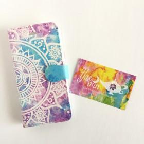 【春・夏】モロッコ風曼荼羅柄 紫陽花カラーの手帳型iPhone/Androidケース(留め具blue)