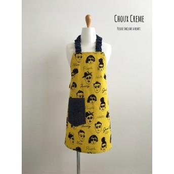 ひとりで着られる キッズエプロン&三角巾セット funky(yellow)