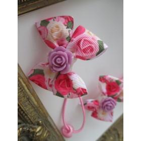 プリンセス 薔薇柄 薄紫ローズデコ へアゴム2点