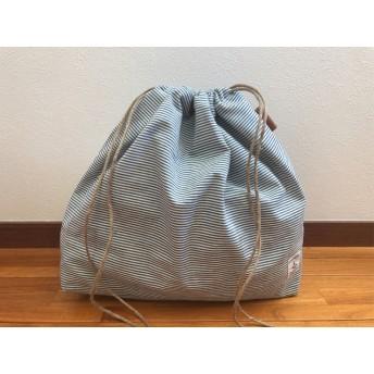 籠バッグの中身隠し ビッグ巾着袋 イカリタグ